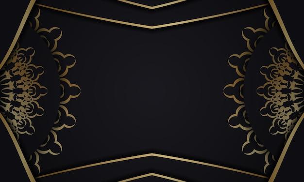 Sjabloon voor spandoek in zwarte kleur met gouden vintage patroon