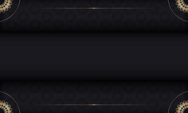 Sjabloon voor spandoek in zwarte kleur met vintage patroon