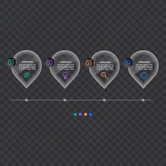 Sjabloon voor spandoek infographics in glas of glanzende stijl, bedrijfsconcept met 4 opties, vectorformaat