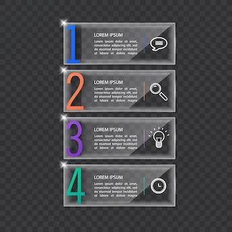 Sjabloon voor spandoek infographics in glas of glanzende stijl bedrijfsconcept met 4 opties