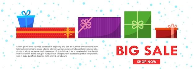 Sjabloon voor spandoek kerstverkoop met geschenkdozen. platte vectorillustratie