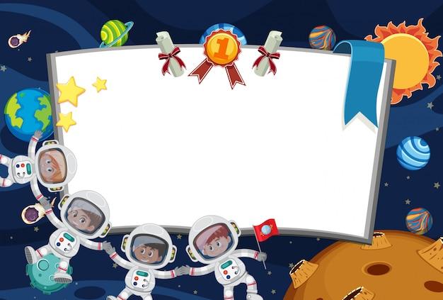 Sjabloon voor spandoek met astronauten vliegen in de ruimte