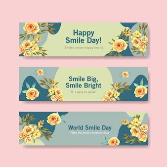 Sjabloon voor spandoek met bloemen boeket ontwerp voor wereld glimlach dag concept om te adverteren en marketing aquarel vector illustraion.