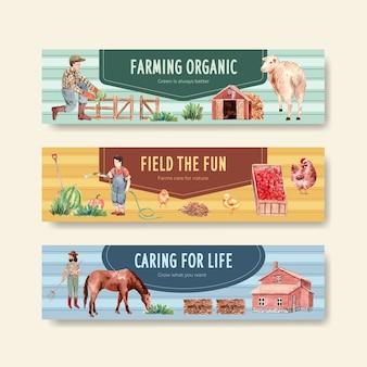Sjabloon voor spandoek met boerderij biologische conceptontwerp aquarel illustratie.