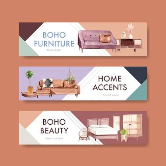 Sjabloon voor spandoek met boho meubelen conceptontwerp voor adverteren en marketing aquarel illustratie