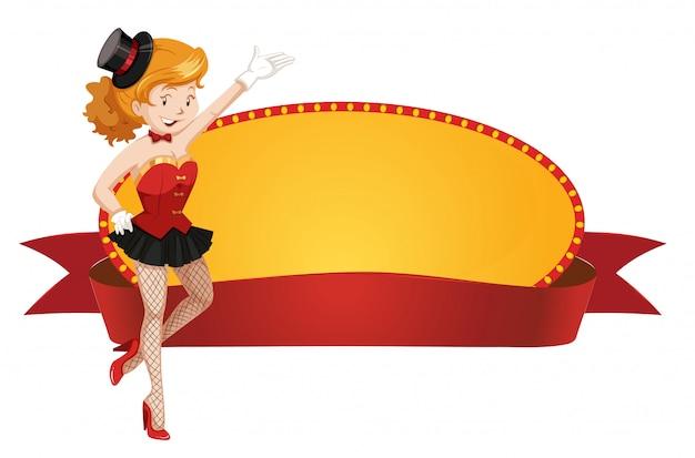 Sjabloon voor spandoek met circus dame en rood lint