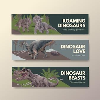 Sjabloon voor spandoek met dinosaurus concept, aquarel stijl