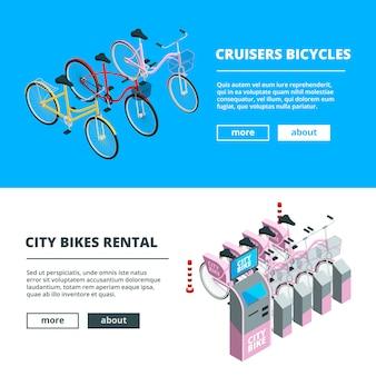 Sjabloon voor spandoek met fietsen. foto's van isometrische fietsen