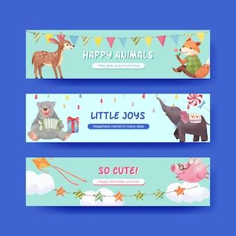 Sjabloon voor spandoek met gelukkige dieren concept aquarel illustratie