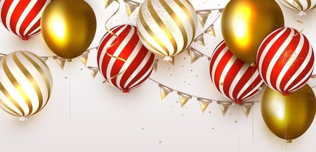 Sjabloon voor spandoek met gouden ballonnen Premium Vector