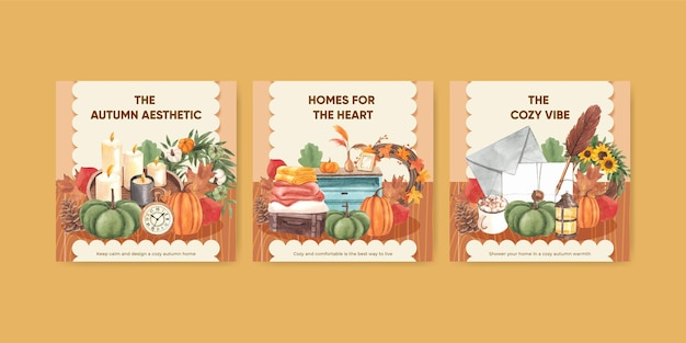Sjabloon voor spandoek met herfsthuis gezellig concept, aquarelstijl