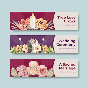 Sjabloon voor spandoek met huwelijksceremonie conceptontwerp voor adverteren aquarel illustratie