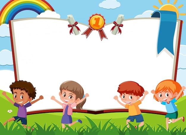 Sjabloon voor spandoek met kinderen