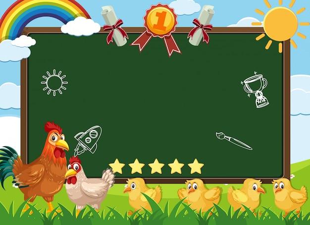 Sjabloon voor spandoek met kippen wandelen in de boerderij