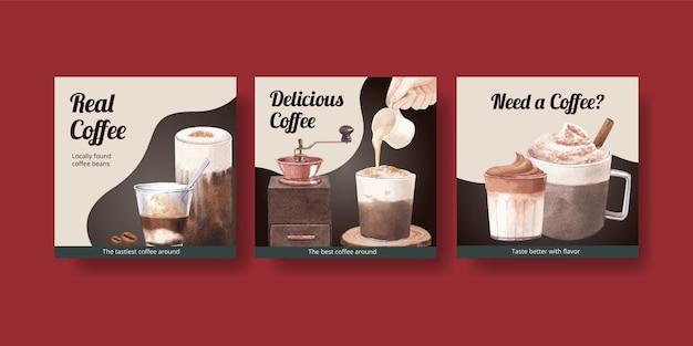 Sjabloon voor spandoek met koffie in aquarel stijl