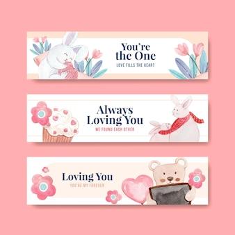 Sjabloon voor spandoek met liefdevolle je conceptontwerp voor adverteren en marketing aquarel illustratie