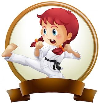 Sjabloon voor spandoek met meisje doet karate