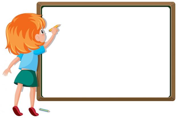 Sjabloon voor spandoek met meisje schrijven op het bord
