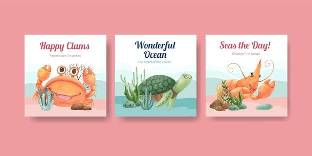 Sjabloon voor spandoek met oceaan opgetogen concept aquarel stijl