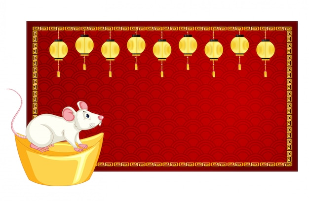 Sjabloon voor spandoek met rat op goud