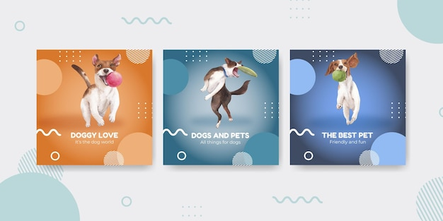 Sjabloon voor spandoek met schattige hond concept, aquarel stijl