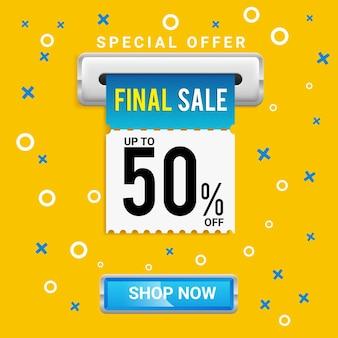 Sjabloon voor spandoek met speciale aanbieding voor definitieve verkoop