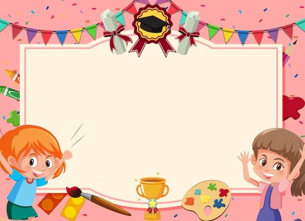 Sjabloon voor spandoek met twee gelukkige meisjes en confetti