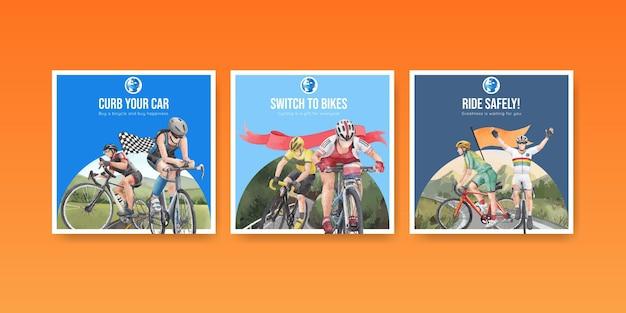 Sjabloon voor spandoek met wereld fiets dag concept, aquarel stijl