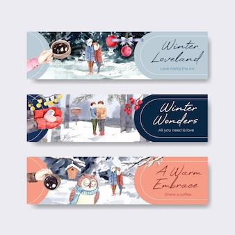 Sjabloon voor spandoek met winter liefde conceptontwerp voor adverteren en marketing aquarel vectorillustratie