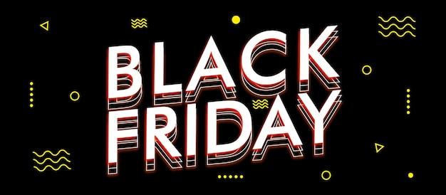 Sjabloon voor spandoek met zwarte vrijdag-thema