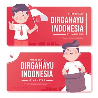 Sjabloon voor spandoek onafhankelijkheidsdag indonesië
