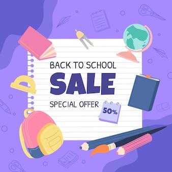 Sjabloon voor spandoek plat terug naar school vierkante verkoop