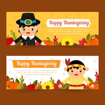 Sjabloon voor spandoek platte ontwerp thanksgiving