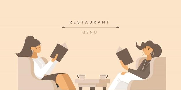 Sjabloon voor spandoek platte restaurantmenu.