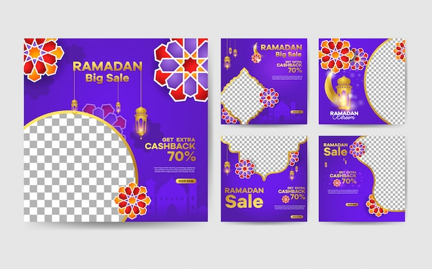 Sjabloon voor spandoek ramadan verkoop, voor promotie-set voor sociale media