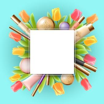 Sjabloon voor spandoek realistische 3d cosmetische lente verkoop. vierkante promotionele poster tulp bloem bloesem blauwe hemel vervagen licht gouden pakket roze frame plat lag vector illustratie kunst.