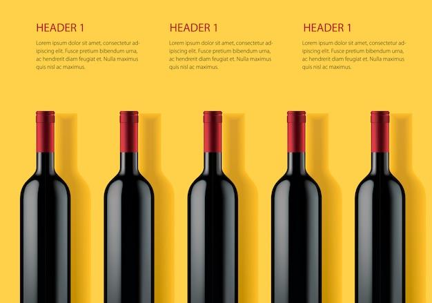 Sjabloon voor spandoek reclame voor alcohol producten op gele achtergrond.
