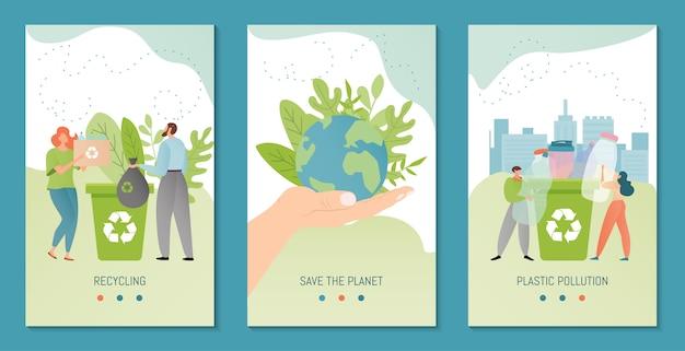 Sjabloon voor spandoek recycling illustratie. gerecycled materiaal verzameld door stripfiguren van mensen. recycle plastic fles.