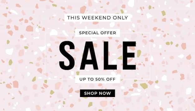 Sjabloon voor spandoek roze verkoop. terrazzo vloeren pastel kleur. verkoop promotie banner.