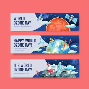 Sjabloon voor spandoek set met wereld ozon dag concept, aquarel stijl