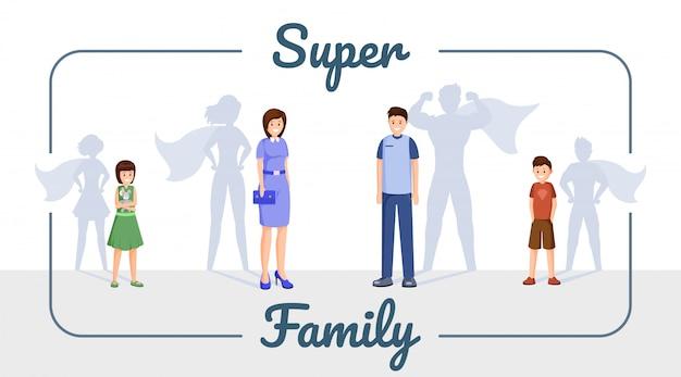 Sjabloon voor spandoek super familie