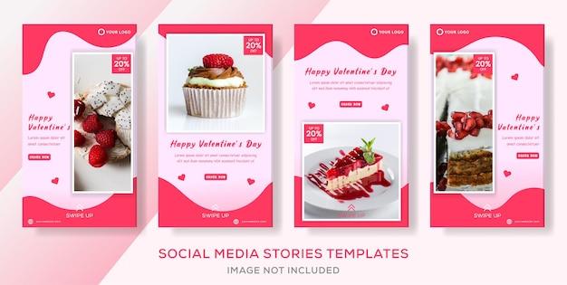 Sjabloon voor spandoek taart voor valentijnsdag premie