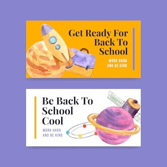 Sjabloon voor spandoek terug naar school en onderwijs