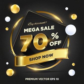 Sjabloon voor spandoek van abstracte donkere gouden verkoop promotie