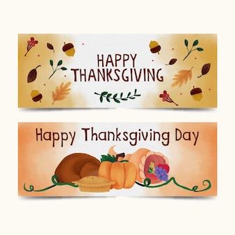 Sjabloon voor spandoek van aquarel thanksgiving