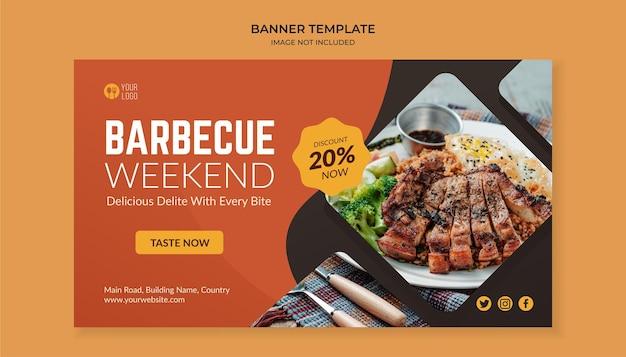 Sjabloon voor spandoek van barbecue weekend eten