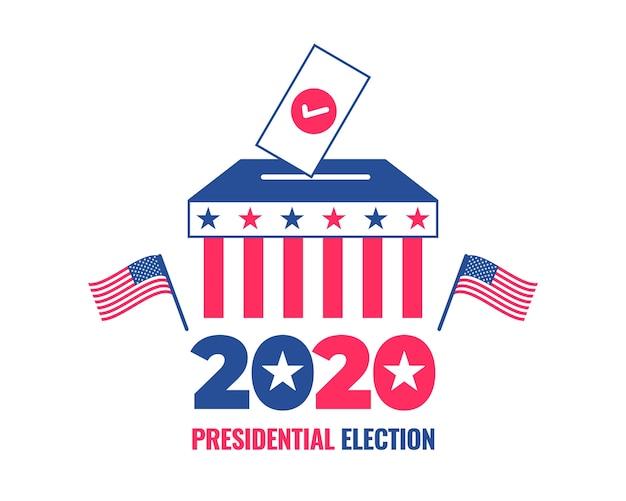 Sjabloon voor spandoek van de amerikaanse presidentsverkiezingen 2020 met een stembus