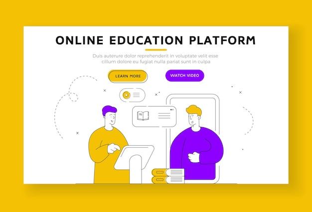 Sjabloon voor spandoek van de bestemmingspagina van het online onderwijsplatform. moderne mannen gebruiken applicaties op moderne apparaten om online digitale educatieve cursussen te kopen. vlakke stijl illustratie