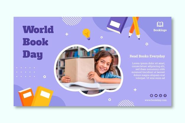 Sjabloon voor spandoek van de dag van het wereldboek