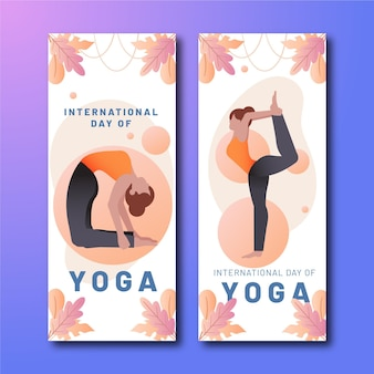 Sjabloon voor spandoek van de internationale dag van de yoga van de gradiënt
